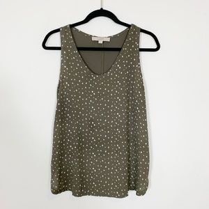 LOFT - Olive Polyester/Rayon Tank Top Size S